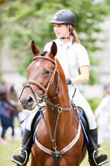 Young rider girl on bay horse after equestrian competition