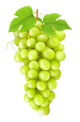 Green grape with leaves isolated on a white