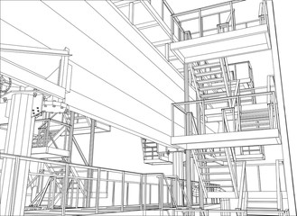 Wire-frame Oil and Gas industrial equipment. Tracing illustration of 3d.