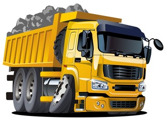 Cartoon dump truck isolated on white background. Available EPS-10 vector format separated by groups and layers for easy edit