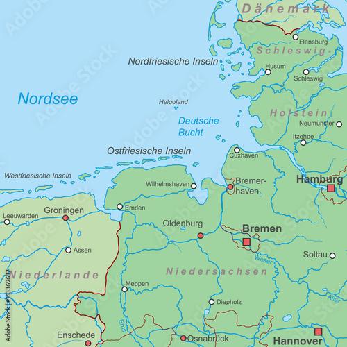 Karte Norddeutschland Ostseekuste.Deutschland Die Nordseekuste Landkarte Stockfotos Und