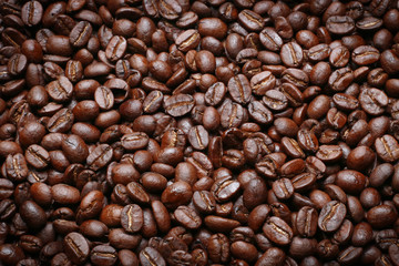 The Roasted coffee beans image closeup