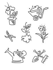 Garden Flower Line Art Design Icons Big Set. Gardening. Thin line art icons. Linear style illustrations isolated on white.