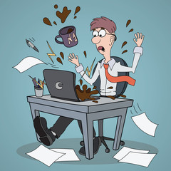 Frustrated scared Business Man Cartoon Character Pouring Coffee on Laptop Man at the table in the office working on computer Falling documents papers flying documents throwing dropping papers
