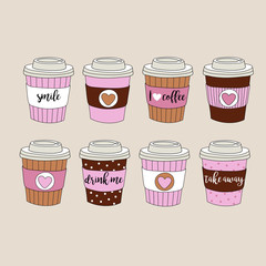 Set of colorful paper coffee cups - vector hand drawn illustration