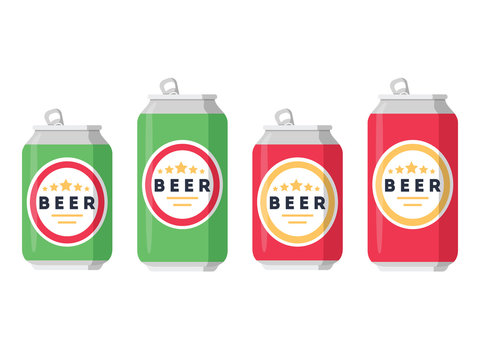 Beer set. A collection of beer cans in different colors on a white background. Isolated in a trendy flat style.