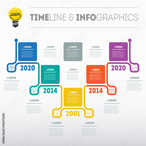 business presentation or timeline concept with 5 options web