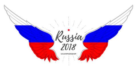 Championship 2018. Abstract Wing with Russia flag colors.