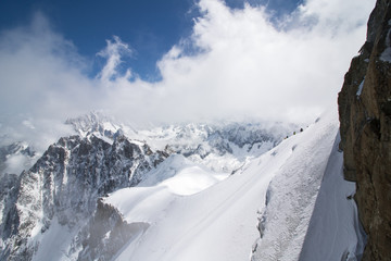 landscape at the aiguille du midi peak covered with snow