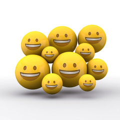 Smiling emoji charachters. Social media emoticons. 3D Rendering
