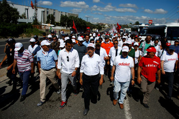 """Turkey's main opposition leader Kilicdaroglu and his supporters walk during the 22nd day of a protest, dubbed """"Justice March"""" near Dilovasi"""