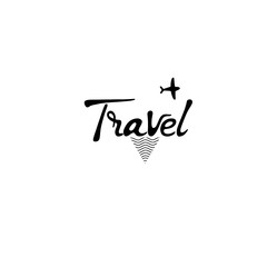 Travel card. Hand drawn lettering