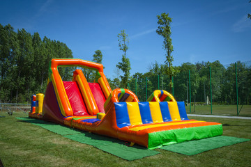 Inflatable big colofrull slide for kids in playground
