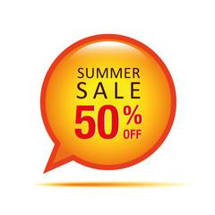 summer sale 50 prozent off sprechblase