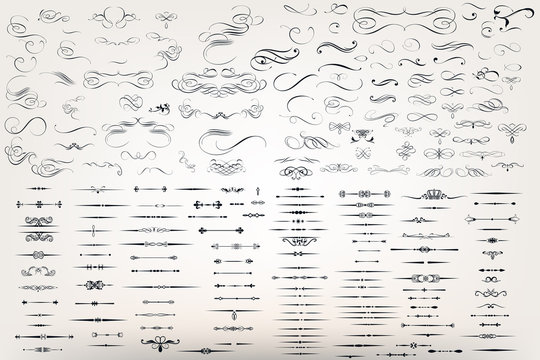 Huge set or collection of vector filigree flourishes for design