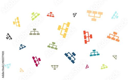 Viele bunte Netzwerk Symbole - Schaltplan\