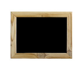 Isolated object. Wooden frame with black background, blackboard or school board isolated on white. Copy space for your text. Free space.