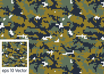 Digital Woodland Camouflage pattern vector