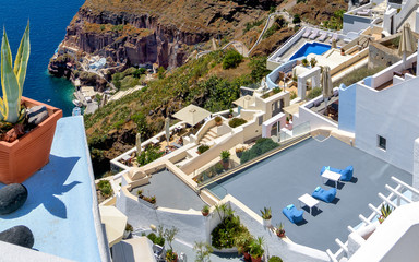 Typical rooftop terraces in the Greek island of Santorini