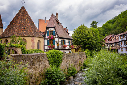 Picturesque and traditional colorful houses in Kaysersberg village on alsatian wine route, Alsace, France
