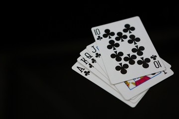 Close-up of clubs cards