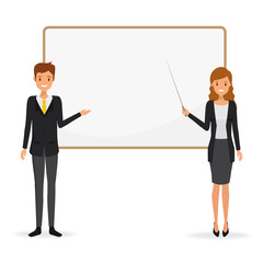 Business man and business woman presenting with whiteboard. Illustration vector.