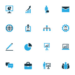 Job Colorful Icons Set. Collection Of Dialog, Local Area, Growing Chart And Other Elements. Also Includes Symbols Such As Pie, Portfolio, Message.