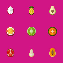 Set Of 9 Editable Berry Icons. Includes Symbols Such As Duchess, Guava, Marakuja And More. Can Be Used For Web, Mobile, UI And Infographic Design.