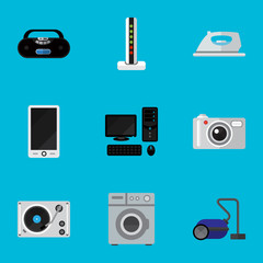 Set Of 9 Editable Tech Icons. Includes Symbols Such As Appliance, Laundromat, Camera And More. Can Be Used For Web, Mobile, UI And Infographic Design.