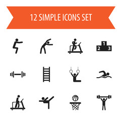 Set Of 12 Editable Fitness Icons. Includes Symbols Such As Exercise, Acrobatics, Basketball And More. Can Be Used For Web, Mobile, UI And Infographic Design.