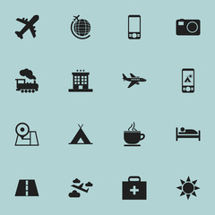 Set Of 16 Editable Travel Icons. Includes Symbols Such As Camping, Steam Engine, Plane And More. Can Be Used For Web, Mobile, UI And Infographic Design.
