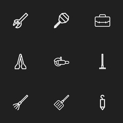 Set Of 9 Editable Equipment Icons. Includes Symbols Such As Grinder, Wrench, Snow Trowel And More. Can Be Used For Web, Mobile, UI And Infographic Design.