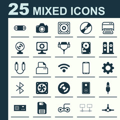 Hardware Icons Set. Collection Of Network Structure, Loudspeakers, Cd-Rom And Other Elements. Also Includes Symbols Such As Disk, Power, Floppy.