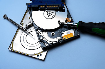 Computer hard disk drive isolated on white with a screwdriver