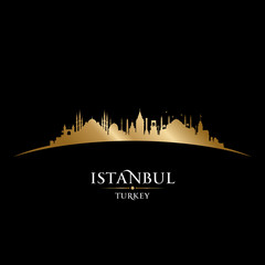 Wall Mural - Istanbul Turkey city skyline silhouette black background