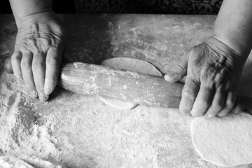 Women's hands cook, dough and flour, cooking