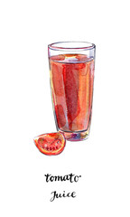 Glass of fresh tomato juice with tomato in watercolor