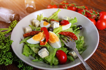 Nice salad served in the restaurant