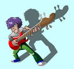 The Bassist Cartoons Vector