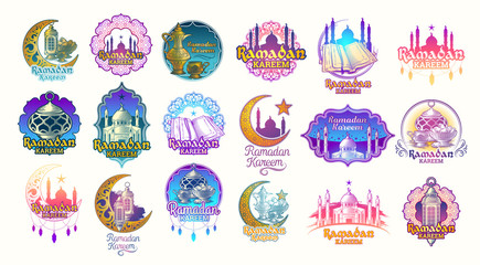 Set vector color illustrations, badges, emblems for Ramadan Kareem. Big color set of design elements for Ramadan greeting