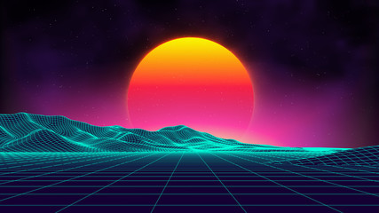 Retro background futuristic landscape 1980s style. Digital retro landscape cyber surface. Retro music album cover template : sun, space, mountains . 80s Retro Sci-Fi Background Summer Landscape. Fototapete