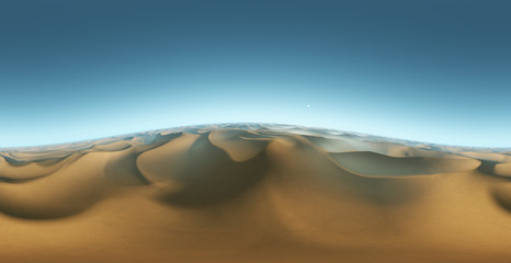 Panorama landscape of sand dunes, environment HDRI map. Equirectangular projection, spherical panorama. 3d rendering