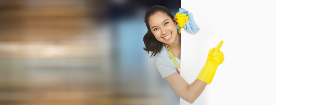 Cleaner with white board with bright background