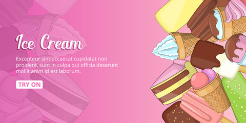 Ice cream shop banner horizontal, cartoon style