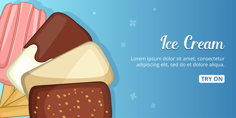 Ice cream cold banner horizontal, cartoon style