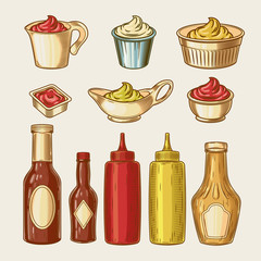 Vector illustration of an engraving style set of different sauces in saucepans and bottles. Ketchup, yogurt, sour cream, mayonnaise, mustard, tar tare sauce, vassabi