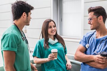 Medics drinking coffee