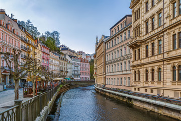 embankment of Tepla river, Karlovy Vary, Czech republic