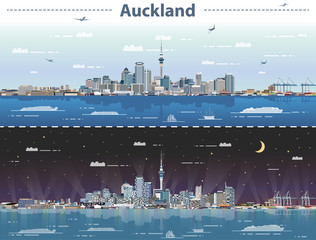 Fototapete - vector illustration of Auckland at day and night