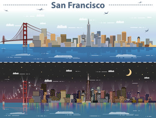 Fototapete - vector illustration of San Francisco at day and night